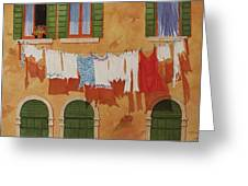 Venetian Washday Greeting Card