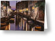 Venezia Al Crepuscolo Greeting Card by Guido Borelli