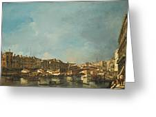 Venice A View Of The Rialto Bridge Looking North From The Fondamenta Del Carbon Greeting Card