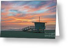 Venice Beach Lifeguard Station Sunset Greeting Card