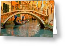 Venice Boat Bridge Oil On Canvas Greeting Card