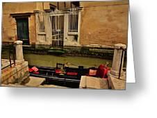 Venice Canal Gondola Awaits Greeting Card