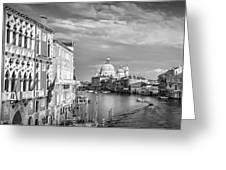 Venice Canal Grande Santa Maria Della Salute Black And White Greeting Card