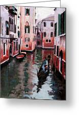 Venice Gondola Ride Greeting Card by Janet King