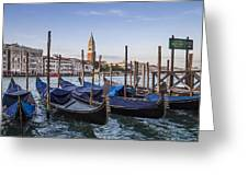 Venice Grand Canal And Goldolas Greeting Card