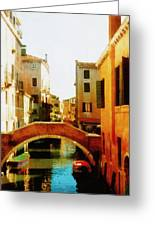 Venice Italy Canal With Boats And Laundry Greeting Card