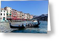 Venice Italy Gondola With Tourists Floats On Grand Canal Greeting Card