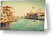 Venice Italy  Grand Canal In Vintage Style Greeting Card