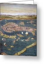 Venice: Map, 16th Century Greeting Card
