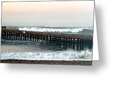 Ventura Storm Pier Greeting Card