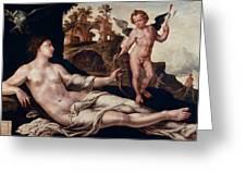 Venus And Amor Greeting Card