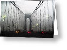 Verazanno Bridge Rain Photofresco Greeting Card