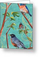Verdigris Songbirds 1 Greeting Card