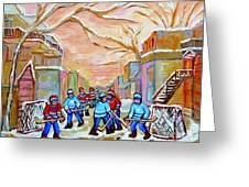 Verdun Back Lane Hockey Practice Montreal Winter City Scen Painting Carole Spandau Greeting Card