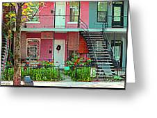 Verdun Flower Boxes Pink House Fenced Front Garden Red Flowers Staircase Scenes Carole Spandau Greeting Card