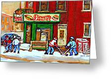 Verdun Hockey Game Corner Landmark Restaurant Depanneur Pierrette Patate Winter Montreal City Scen Greeting Card by Carole Spandau