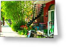 Verdun Stairs Red Flowers On Winding Staircase Tall Shade Tree Montreal Summer Scenes Carole Spandau Greeting Card