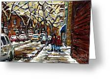 Verdun Winter Row Houses In January Montreal Paintings Time For A Walk Carole Spandau Greeting Card
