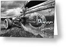 Vermin's Diner Rat Rod In Black And White Greeting Card