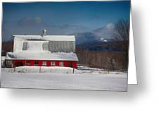 Vermont Barn In Snow With Mountain Behind Greeting Card