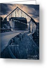 Vermont Covered Bridge In Moonlight Greeting Card