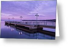 Vermont Lake Champlain Sunrise Clouds Fishing Pier Greeting Card