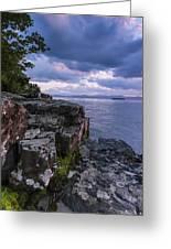 Vermont Lake Champlain Sunset Clouds Shoreline Greeting Card