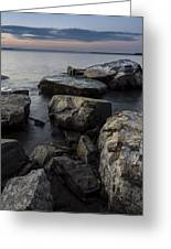 Vermont Lake Champlain Sunset Cloudscape Rocks Greeting Card