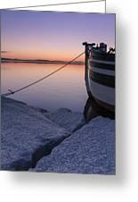 Vermont Lake Champlain Sunset Nautical Boat  Greeting Card