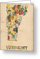 Vermont Map Vintage Watercolor Greeting Card