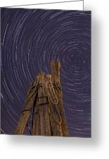 Vermont Night Star Trail Wood Pier Greeting Card