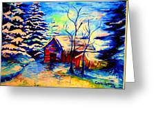 Vermont Winterscene In Blues By Montreal Streetscene Artist Carole Spandau Greeting Card