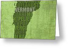 Vermont Word Art State Map On Canvas Greeting Card by Design Turnpike