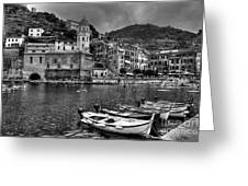 Vernazza - Cinque Terre In Grey Greeting Card