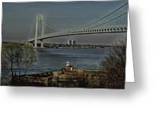 Verrazano Bridge And Fort Wadsworth Greeting Card