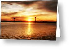 Verrazano Bridge At Sunset Greeting Card