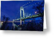 Verrazano-narrows Bridge At Night Greeting Card