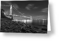 Verrazano-narrows Bridge Bw Greeting Card