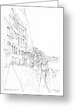 Vertical Amalfi Pencil And Ink Sketch Greeting Card