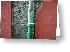 Vertical Drainpipe Against Colorful Greeting Card
