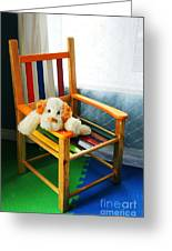Vertical Of Dog In Kid Chair. Greeting Card