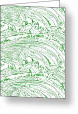 Vertical Panoramic Grunge Etching Sage Color Greeting Card