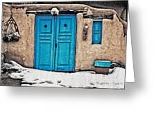 Very Blue Door Greeting Card