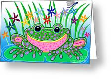 Very Happy Spotted Frog Greeting Card by Nick Gustafson
