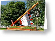 Very Large Pipestone Pipe Sculpture By Former Rock Island Line Railroad Depot In Pipestone-minnesota Greeting Card