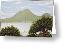 Vesuvius And Umbrella Pine Tree Greeting Card