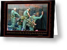 Veterans At Vietnam Wall Greeting Card by Carolyn Marshall