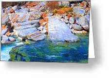 Vibrant Colored Rocks Verzasca Valley Switzerland II Greeting Card