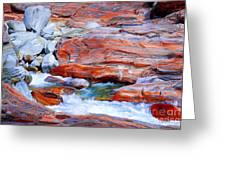 Vibrant Colored Rocks Verzasca Valley Switzerland Greeting Card
