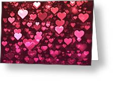 Vibrant Pink And Red Bokeh Hearts Greeting Card